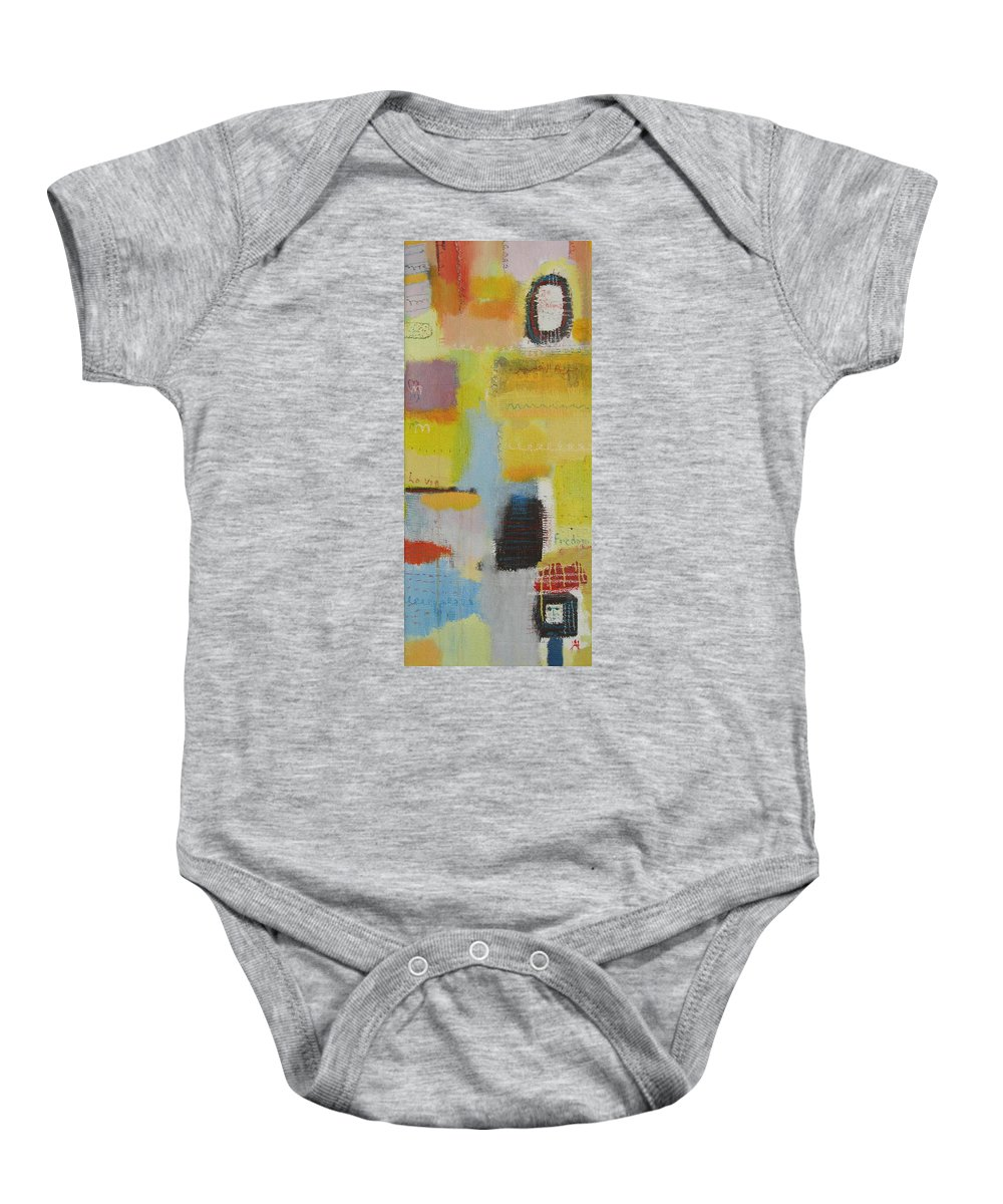 Abstract Baby Onesie featuring the painting Abstract Life 3 by Habib Ayat