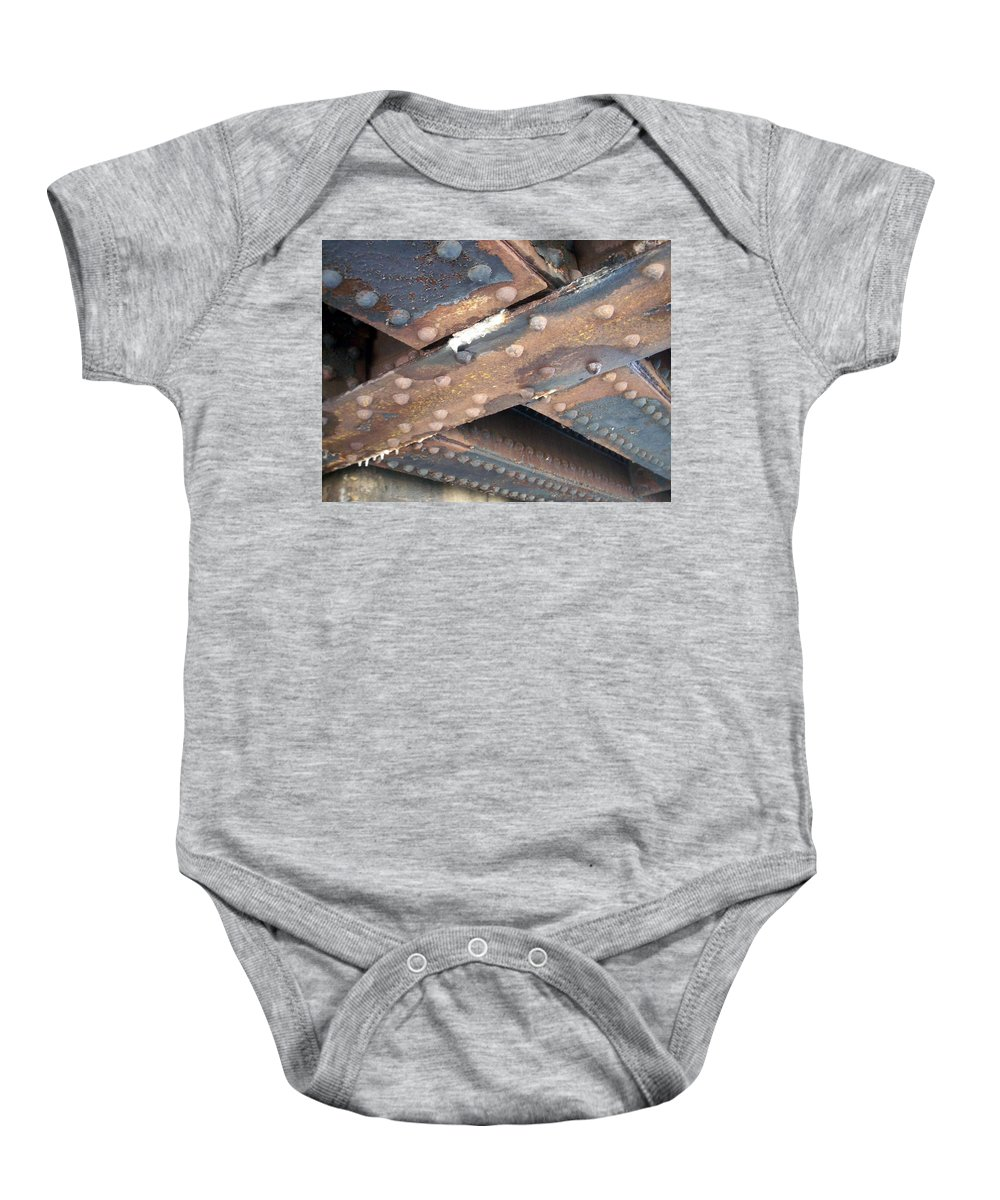 Urban Baby Onesie featuring the photograph Abstract Rust 2 by Anita Burgermeister