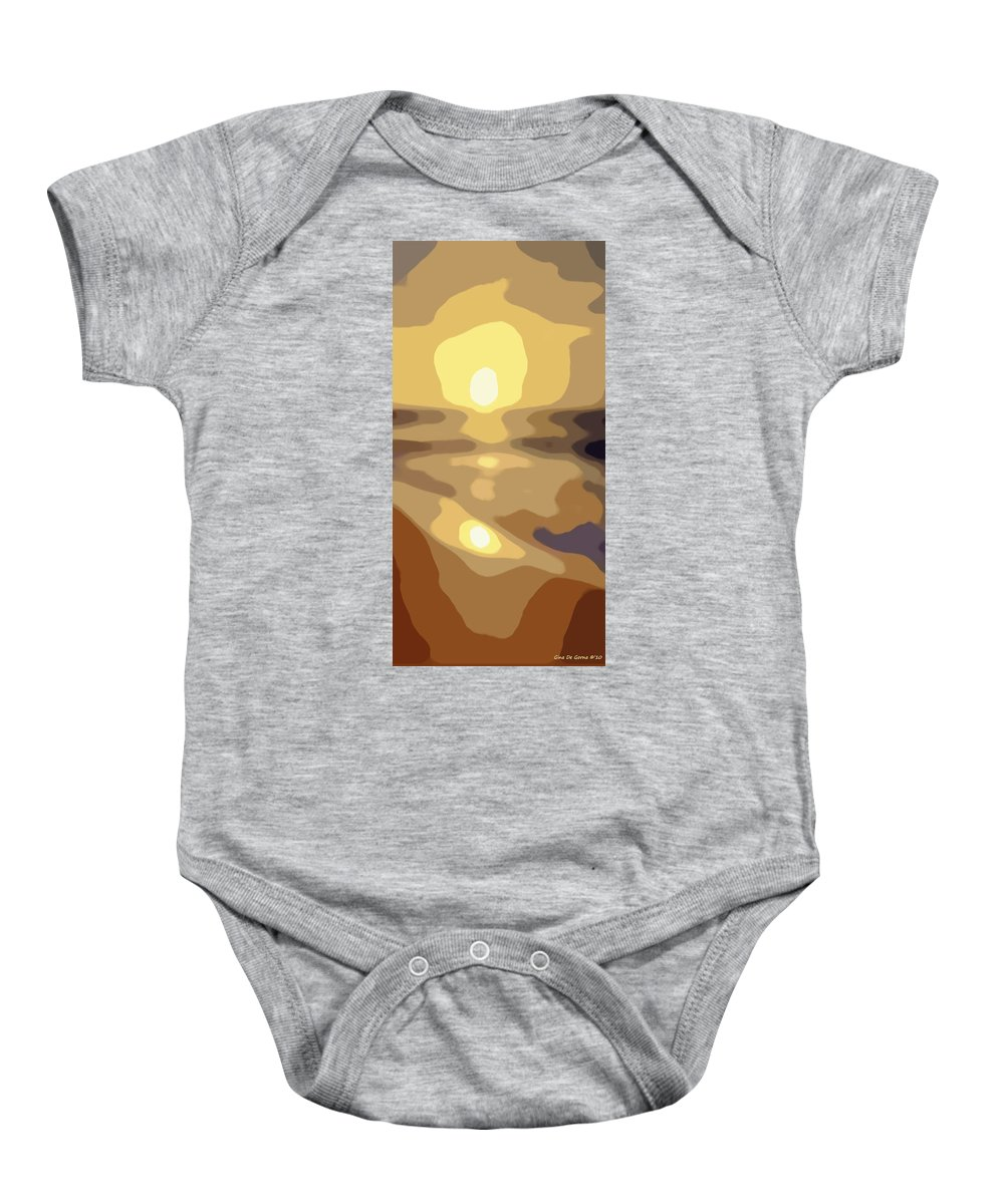 Abstract Baby Onesie featuring the painting Abstract Sunset 34 by Gina De Gorna