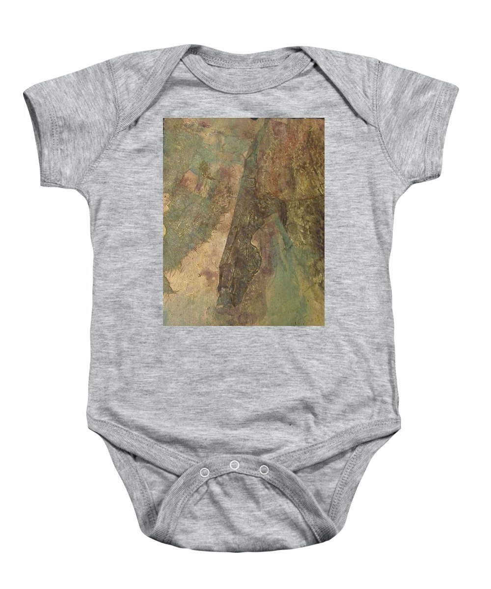 Abstract Baby Onesie featuring the mixed media Abstract Three by Pat Snook