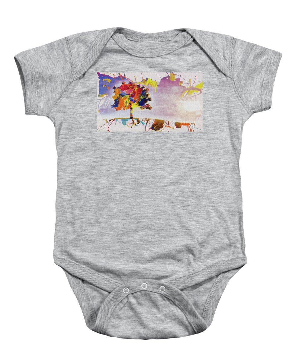 Painting Baby Onesie featuring the painting Abstract Tree 33w by Gull G