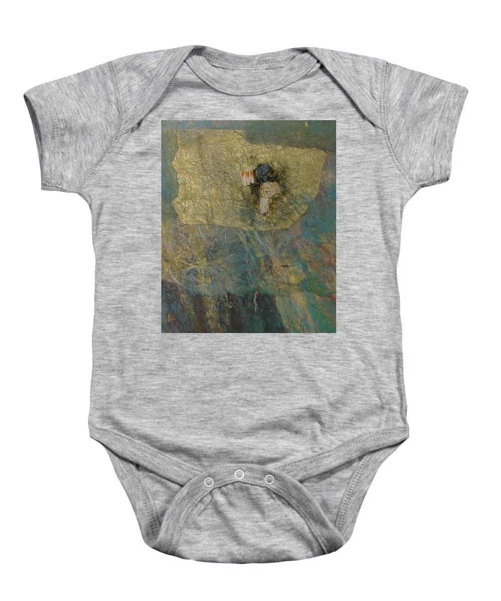 Abstract Baby Onesie featuring the mixed media Abstract Two by Pat Snook