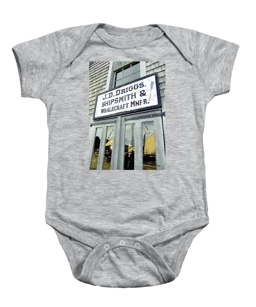 Sign Baby Onesie featuring the painting Across From The Harbor by RC DeWinter