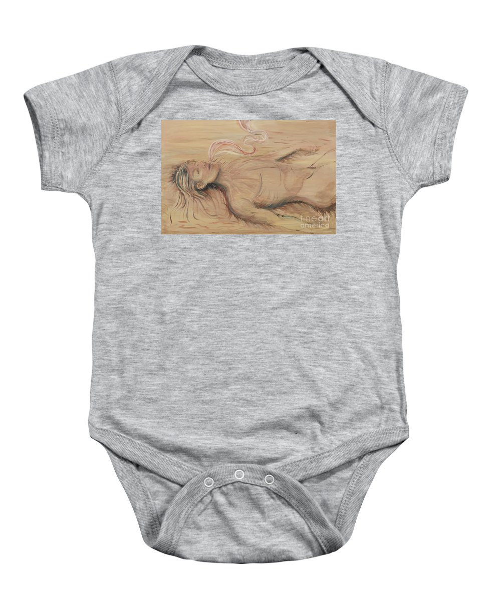Adam Baby Onesie featuring the painting Adam And The Breath Of God by Nadine Rippelmeyer
