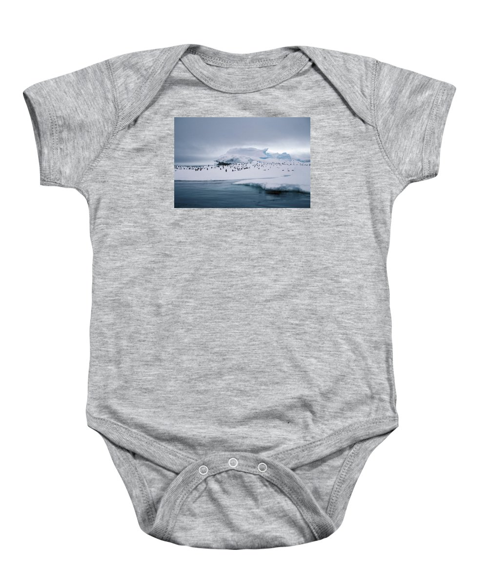 Panguin Baby Onesie featuring the photograph Adelie Penguins On Iceberg Weddell Sea by Brian Lockett
