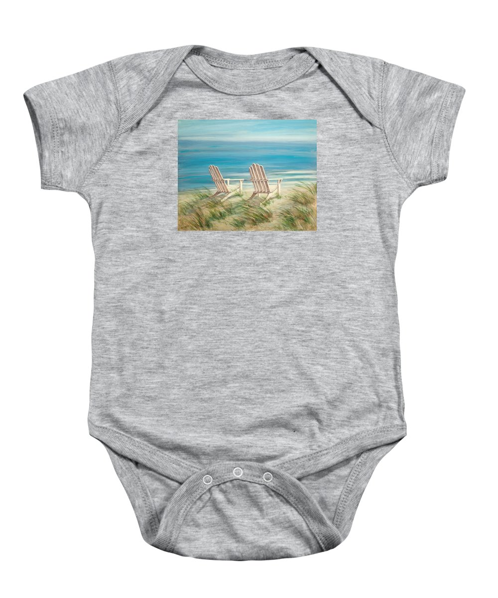 Adirondack Chairs Baby Onesie featuring the painting Adirondack Chairs by Tina Obrien