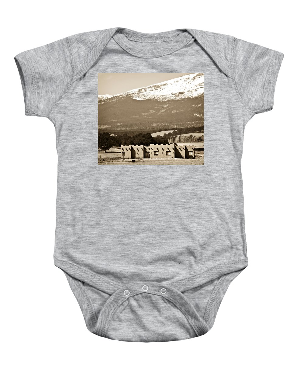 Americana Baby Onesie featuring the photograph Adobe House by Marilyn Hunt