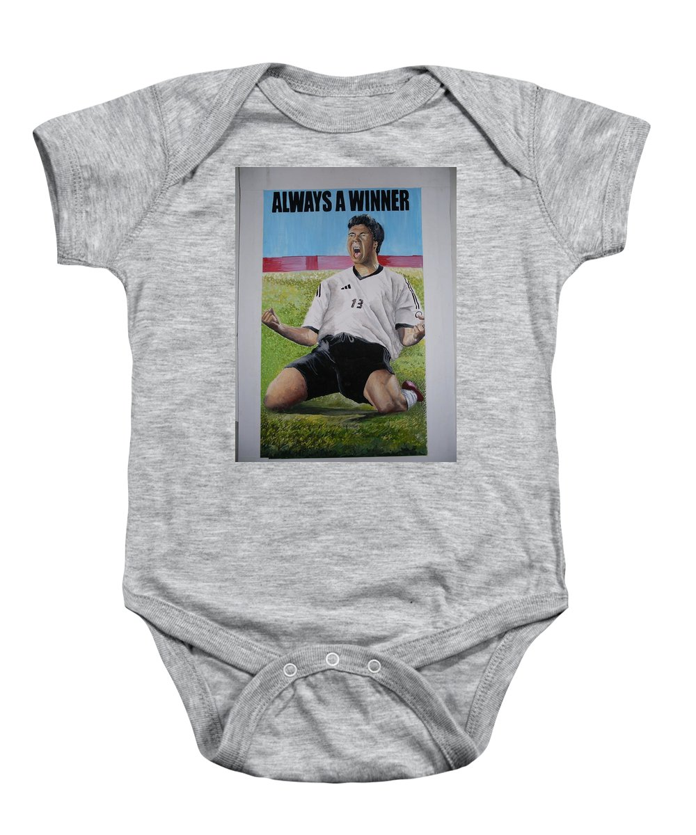 Footballer Baby Onesie featuring the painting Advert Paintographic by Olaoluwa Smith