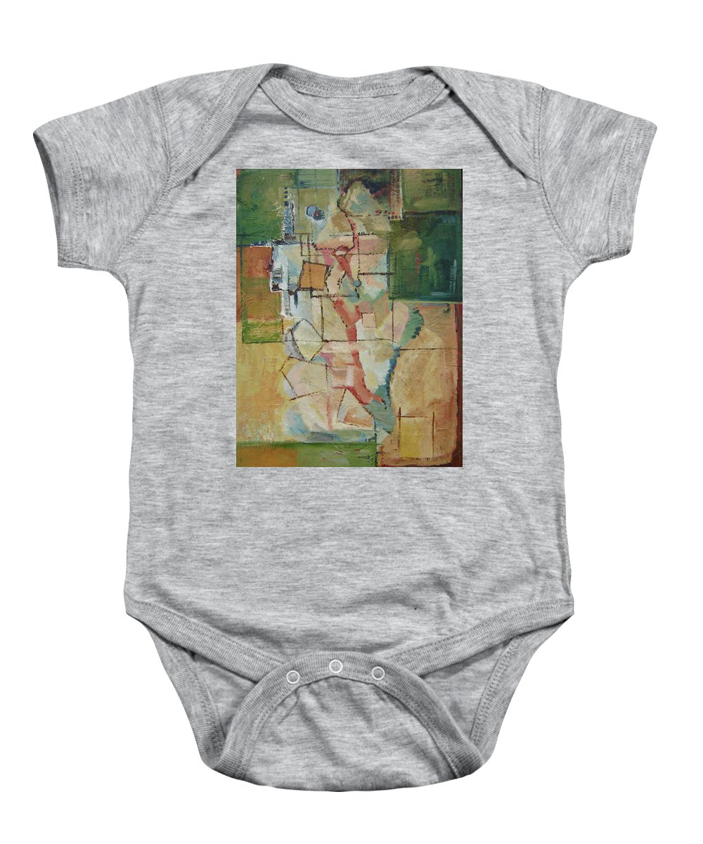 Abstract Art Baby Onesie featuring the painting Aerial by Ginger Concepcion