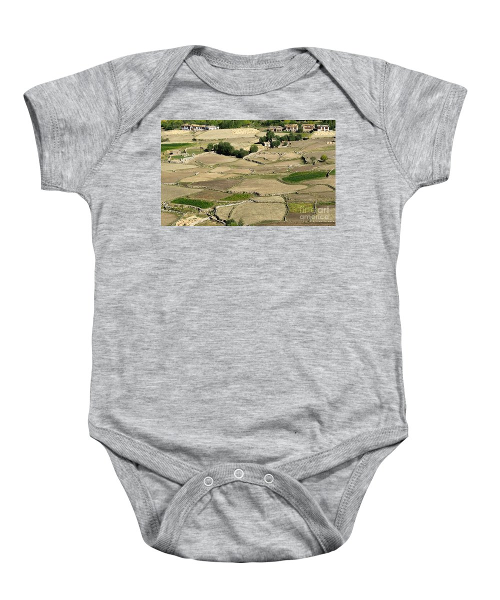 Landscape Baby Onesie featuring the photograph Aerial View Of Green Ladakh Agricultural Landscape by Rudra Narayan Mitra