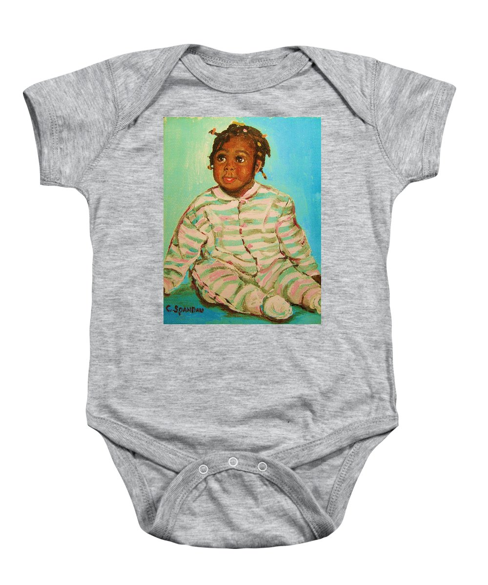 Africa Baby Onesie featuring the painting African Cutie by Carole Spandau