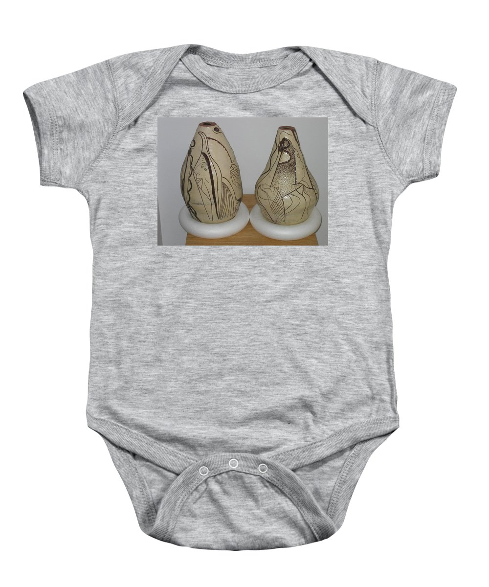 Jesus Baby Onesie featuring the ceramic art African Terracotta Goulds - View One by Gloria Ssali
