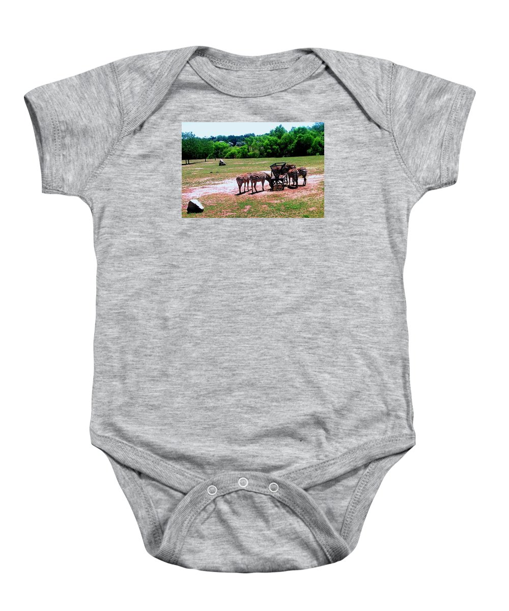 African Zebra Baby Onesie featuring the photograph African Zebras Feeding by Michelle Caraballo