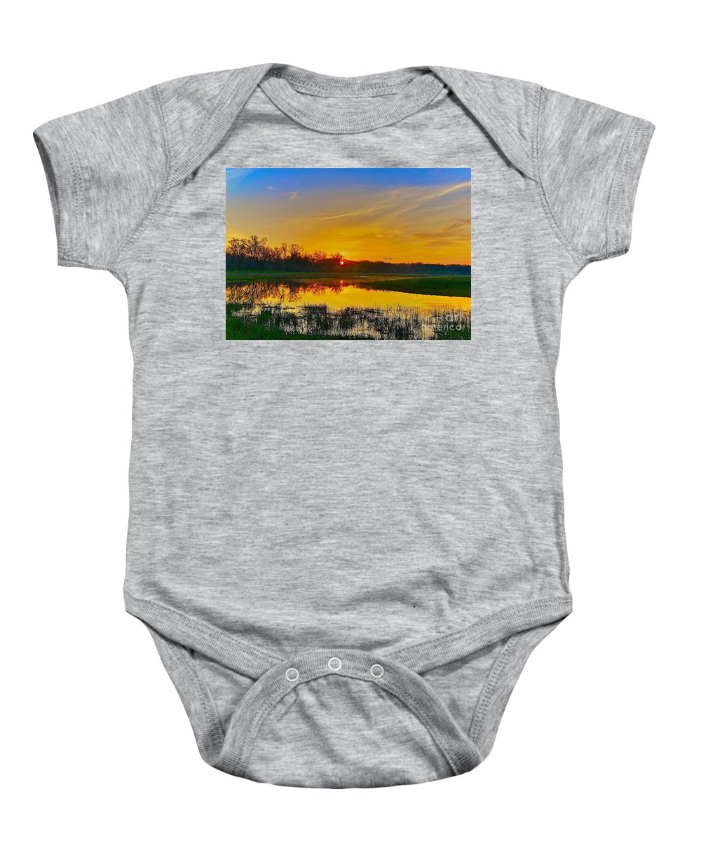 Related Tags: Sunset Artwork Baby Onesie featuring the photograph After Coffee by Robert Pearson