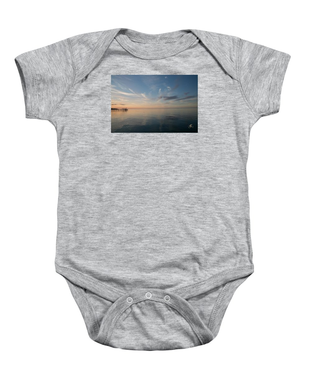 Gulf Of Mexico Baby Onesie featuring the photograph After Sunset II by Gina Munger