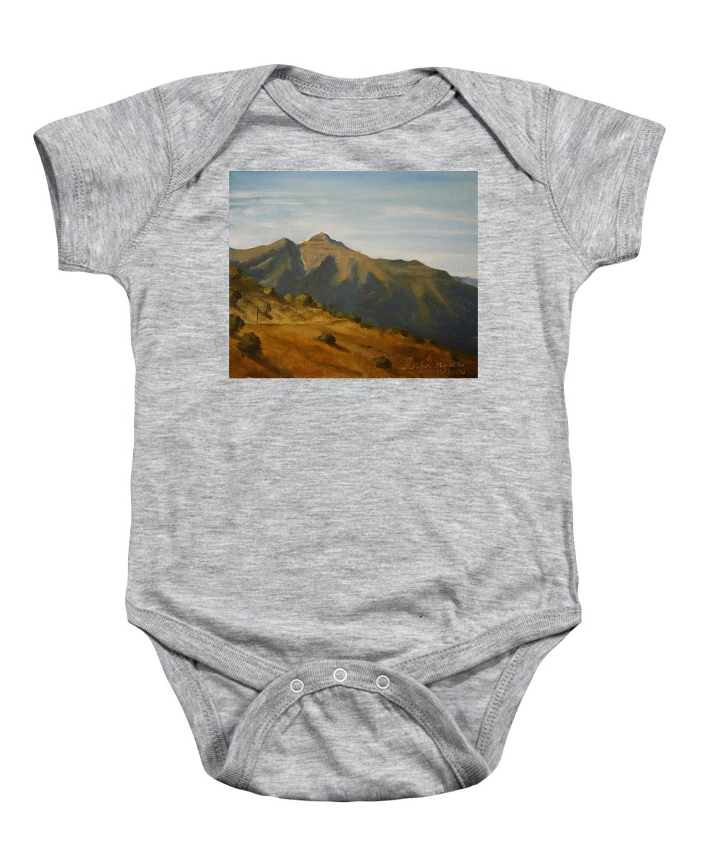 Oil Canvas Landscape Bhatghar Sahyadri Mountain Afternoon Bhatghar Baby Onesie featuring the painting Afternoon At Bhatghar by Mandar Marathe