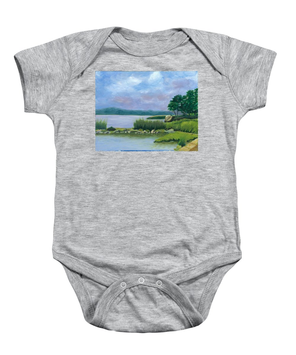 Seascape Baby Onesie featuring the painting Afternoon At Pilgrim by Paula Emery