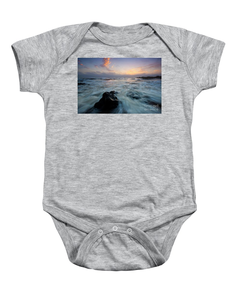 Marine Layer Baby Onesie featuring the photograph Against The Sea by Mike Dawson