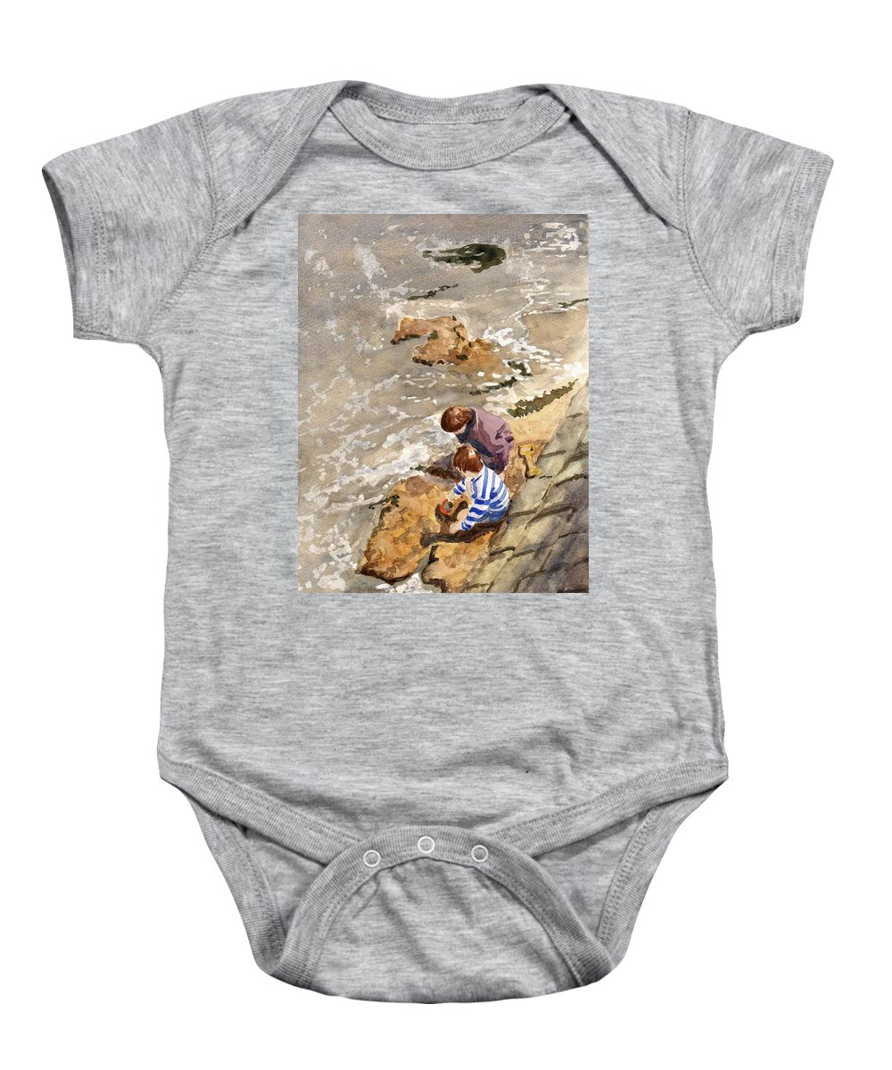 Water. Sea. Tide. Boys. Children. Coast. Beach. Coastal. Sand. Sea. Play. Baby Onesie featuring the painting Against The Tide by John Cox