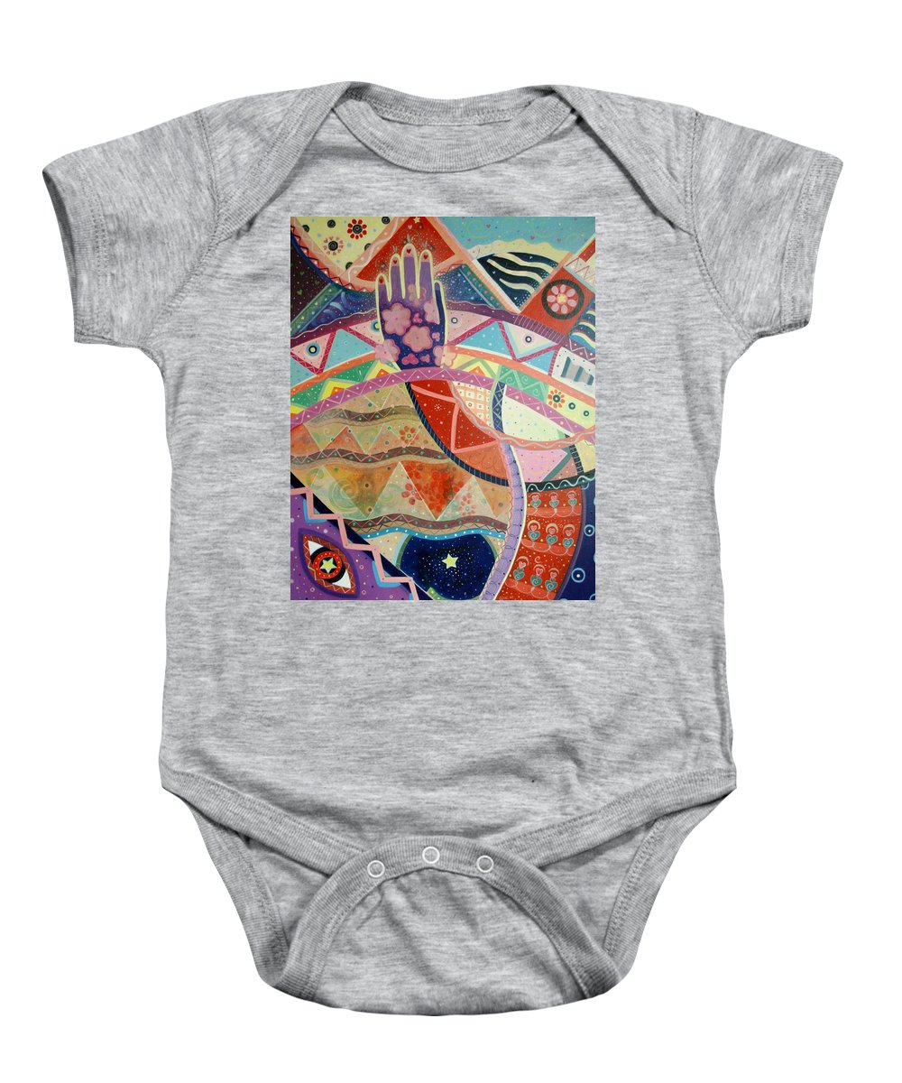 Hand Baby Onesie featuring the painting Aim High by Helena Tiainen