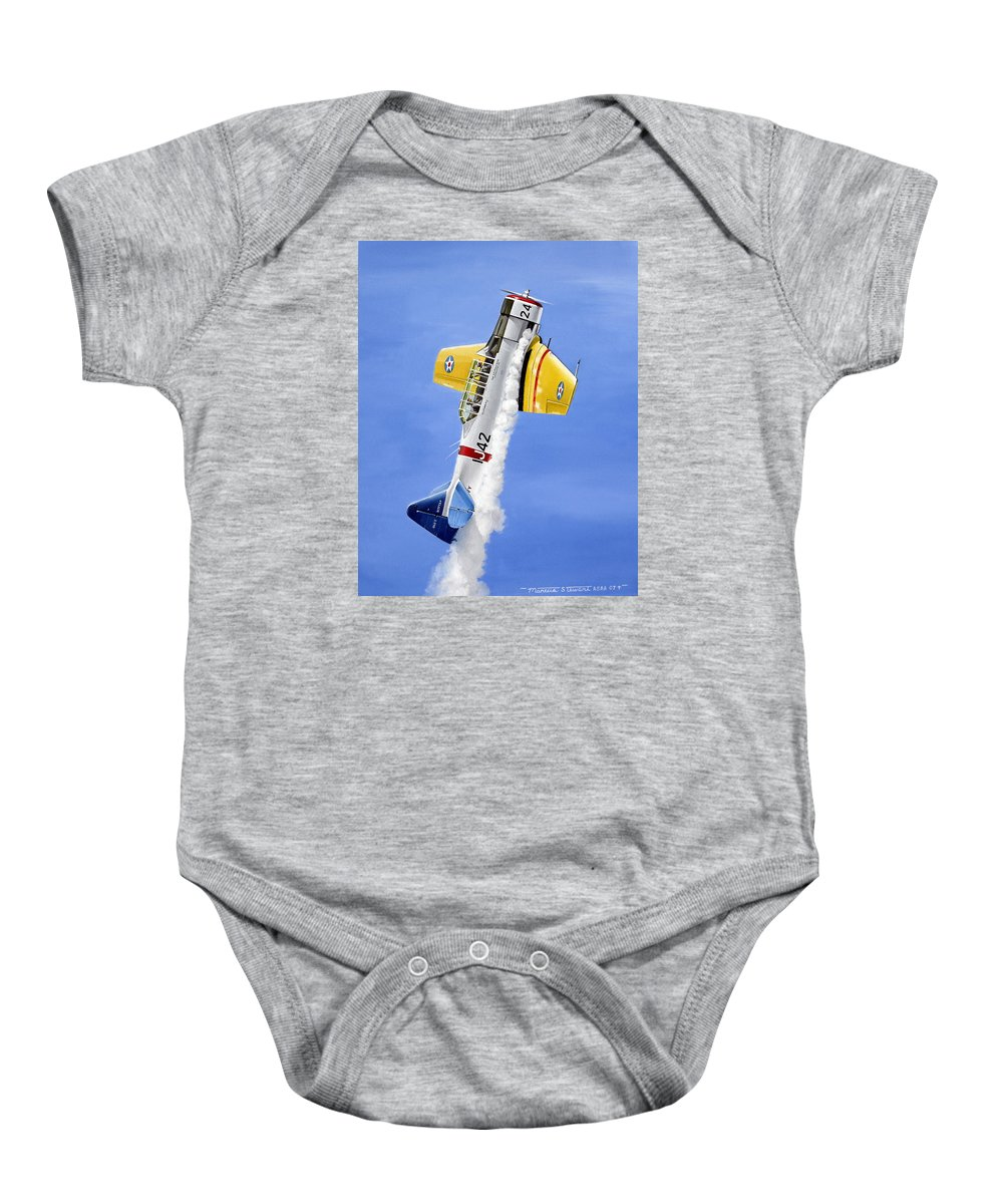 Military Baby Onesie featuring the painting Air Show by Marc Stewart