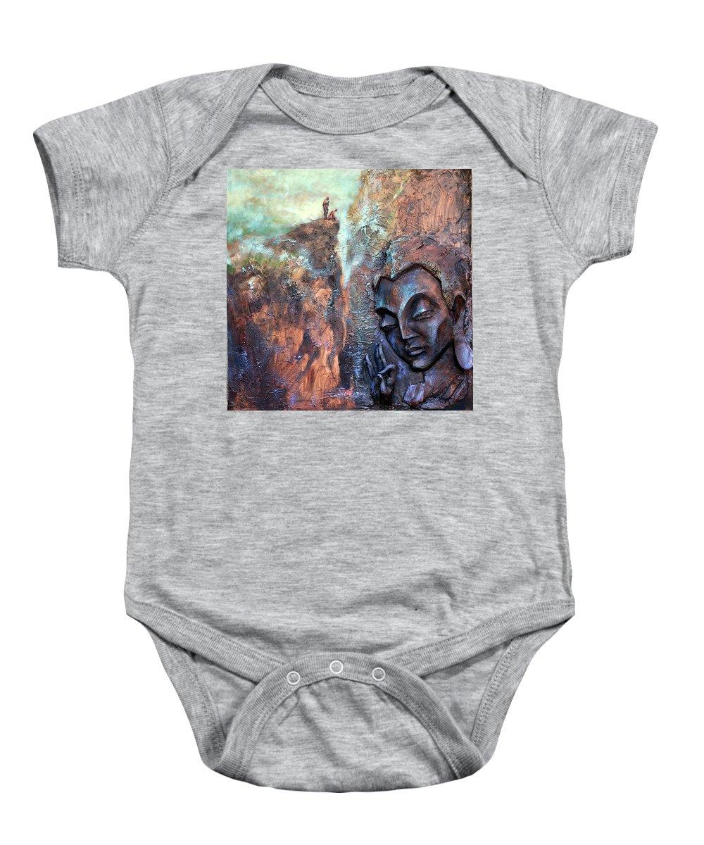 Buddha Baby Onesie featuring the painting Ajanta Buddha by Shailesh Bodele