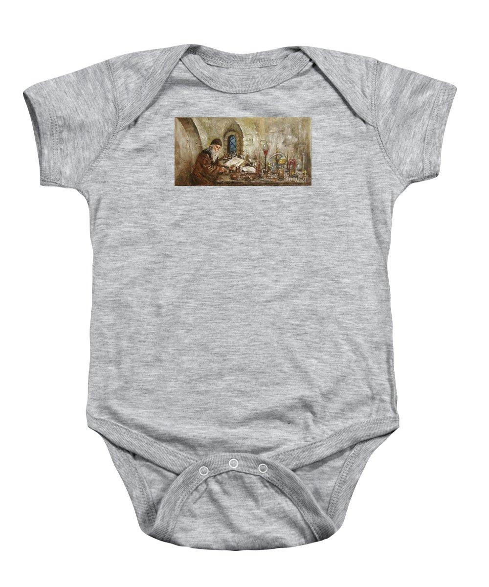 Alchemist Baby Onesie featuring the painting Alchemist by Arturas Slapsys