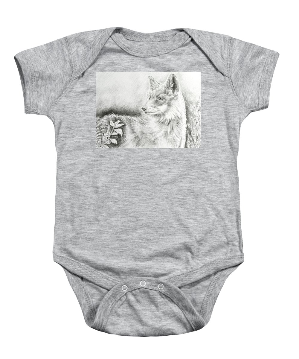 Fox Baby Onesie featuring the drawing Alert Fox by Elizabeth Cox