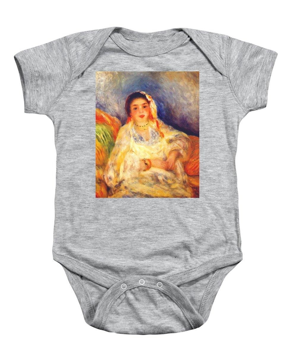 Algerian Baby Onesie featuring the painting Algerian Woman Seated 1882 by Renoir PierreAuguste