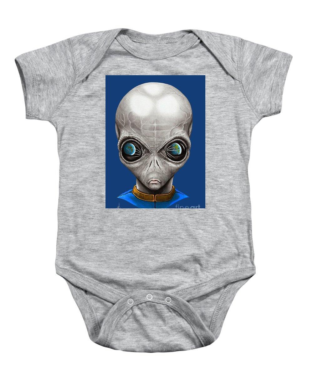Alien Baby Onesie featuring the drawing Alien From Space by Murphy Elliott
