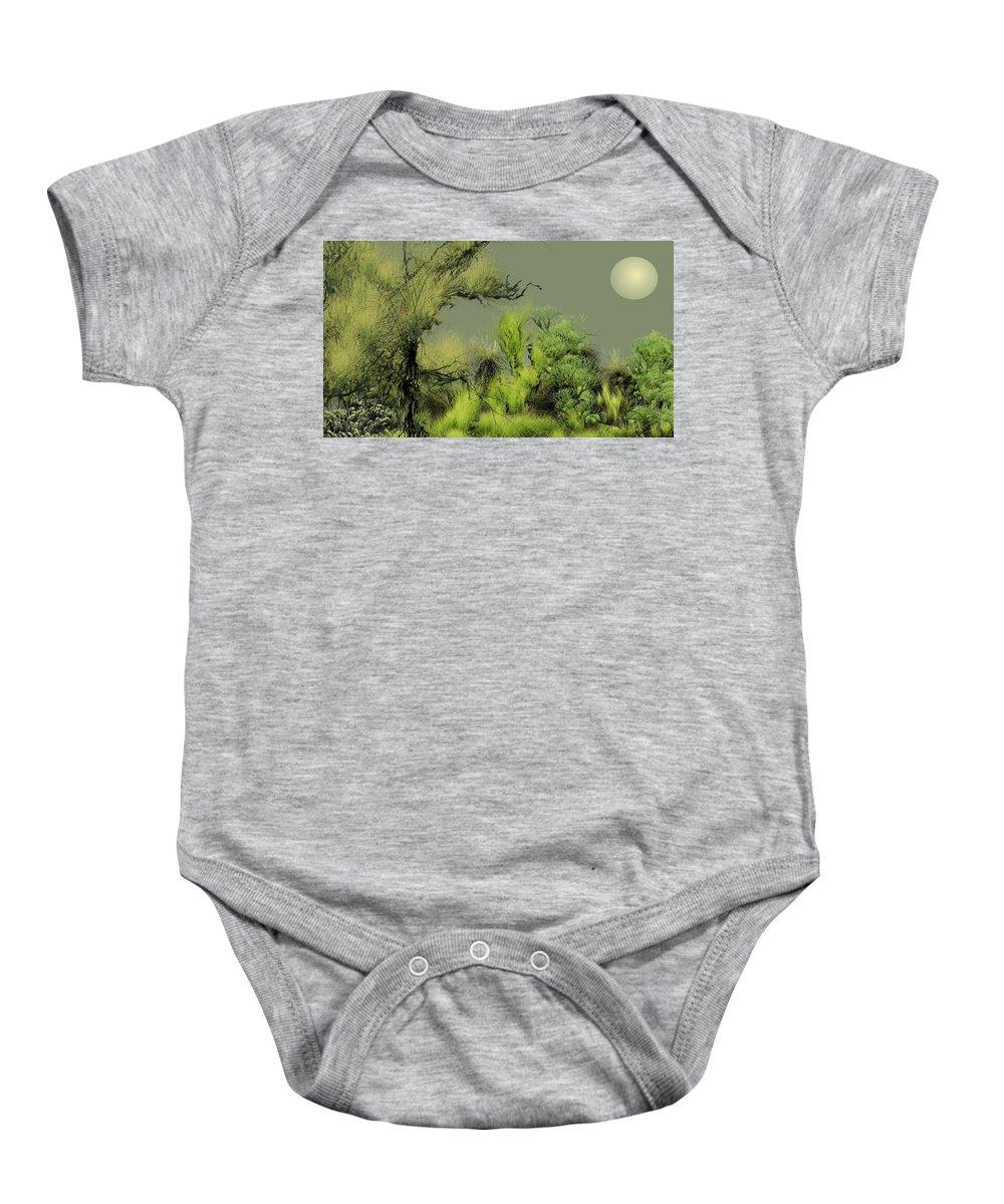 Digital Fantasy Painting Baby Onesie featuring the digital art Alien Garden 2 by David Lane