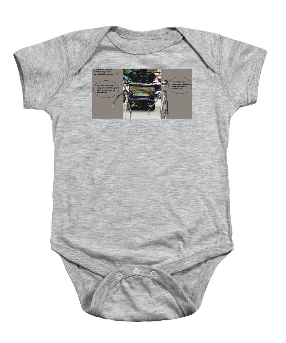 Comics Alien Baby Onesie featuring the mixed media Alien Nutz 1 by Robert aka Bobby Ray Howle