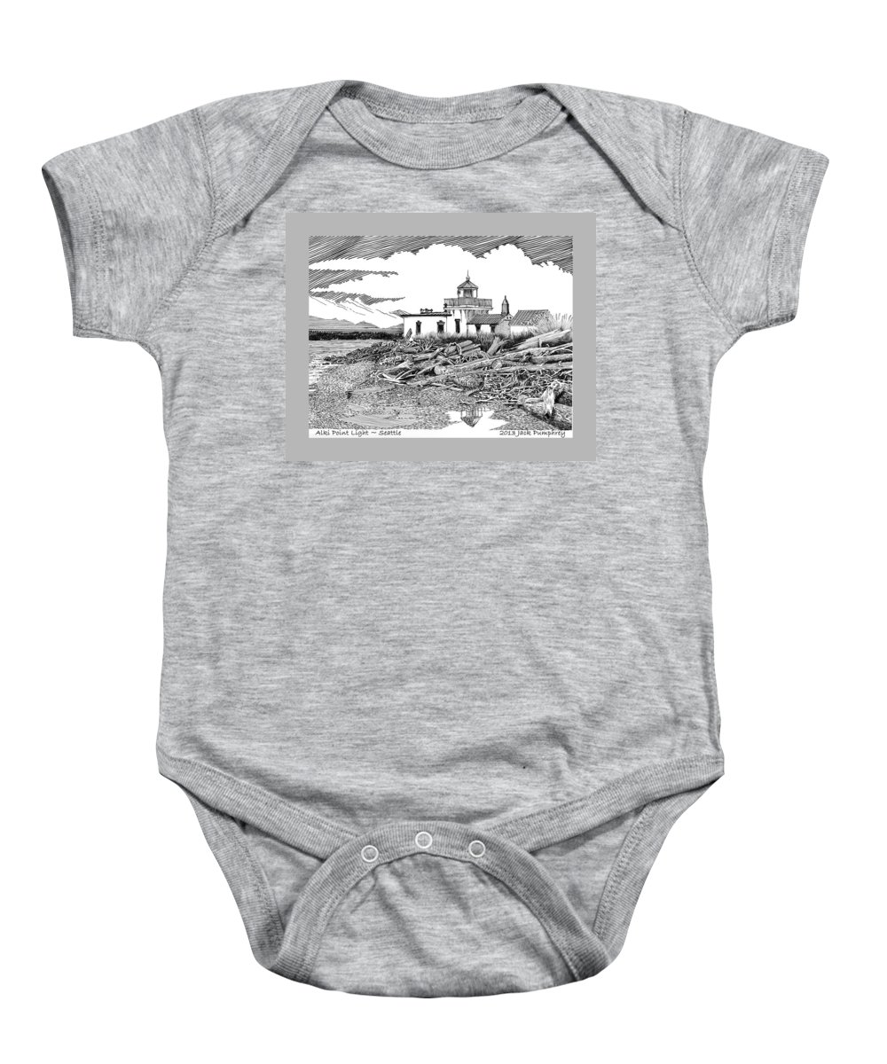 Ink Drawing Of Alki Point Lighthouse In West Seattle Baby Onesie featuring the painting Alki Point Lighthouse Seattle by Jack Pumphrey