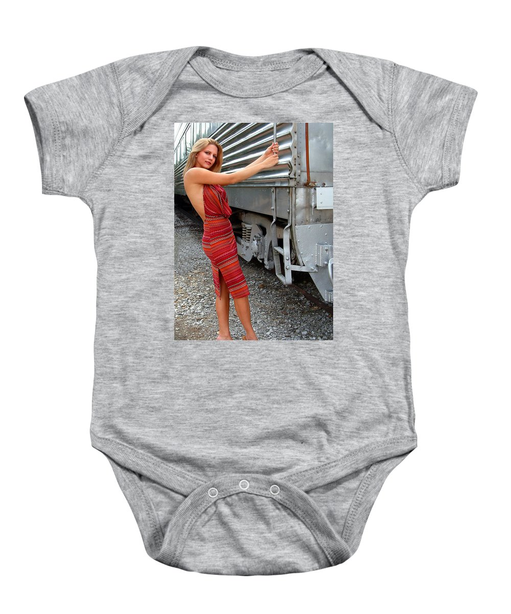 Glamour Baby Onesie featuring the photograph All Aboard by John Dauer
