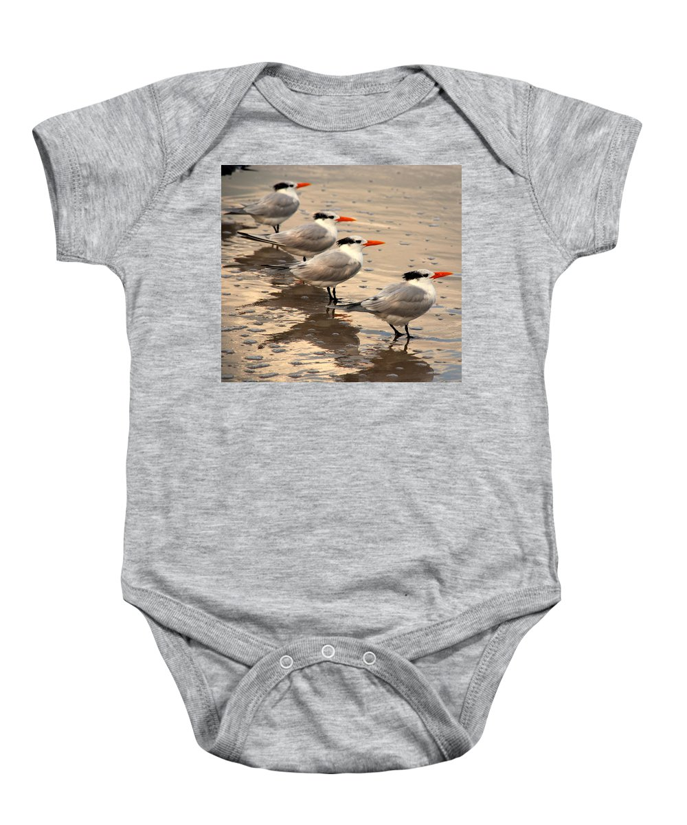 Wildlife Baby Onesie featuring the photograph All Lined Up by Susanne Van Hulst