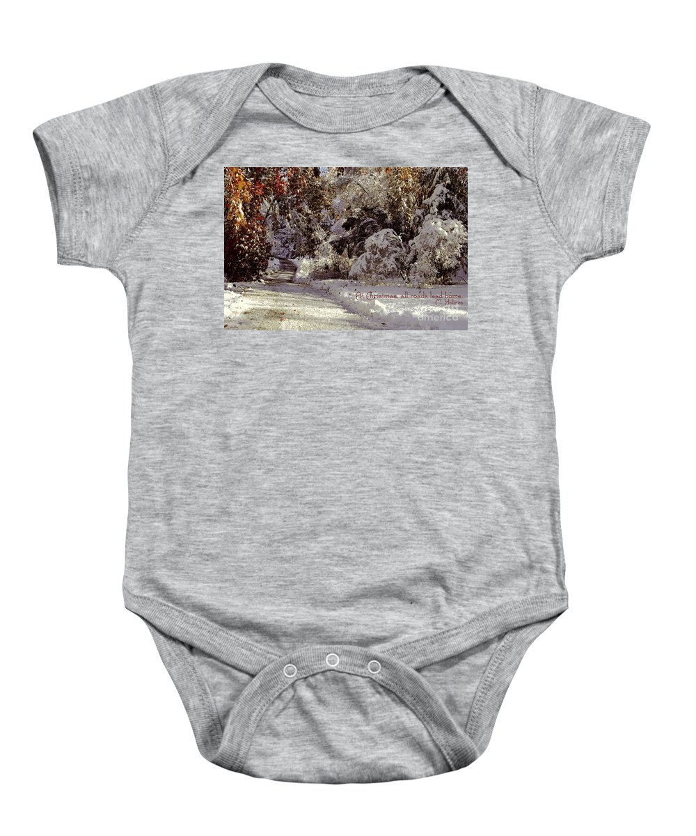 Winter Baby Onesie featuring the photograph All Roads Lead Home by Sabine Jacobs