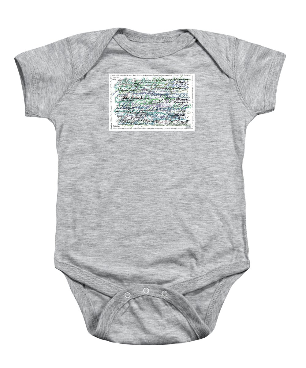Abstract Baby Onesie featuring the painting All The Presidents Signatures Teal Blue by Tony Rubino