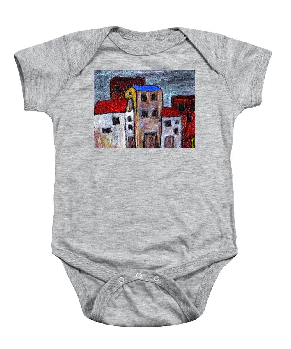 City Scene Baby Onesie featuring the painting Alley Doors by Wayne Potrafka