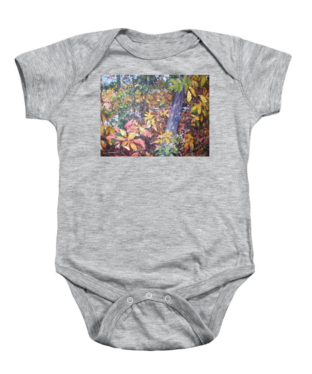 Landscape Baby Onesie featuring the painting Almost Tropical by Sheila Holland