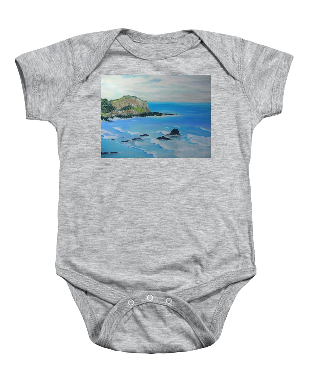 Hawaii Baby Onesie featuring the painting Aloha by Melinda Etzold