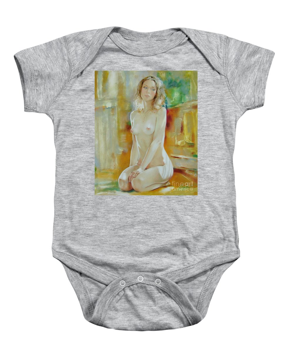 Art Baby Onesie featuring the painting Alone At Home by Sergey Ignatenko