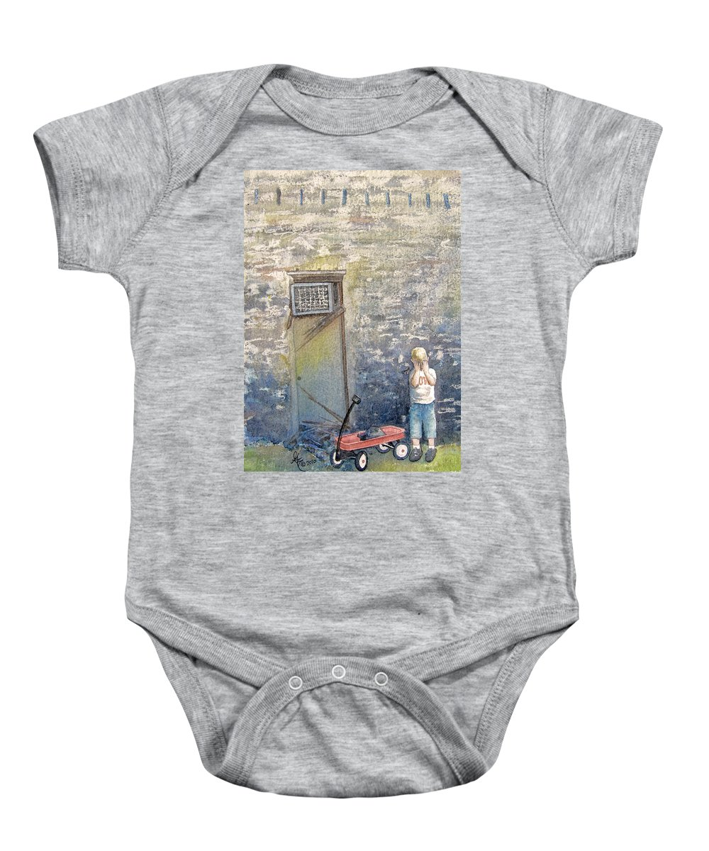 Child Baby Onesie featuring the painting Alone by Gale Cochran-Smith