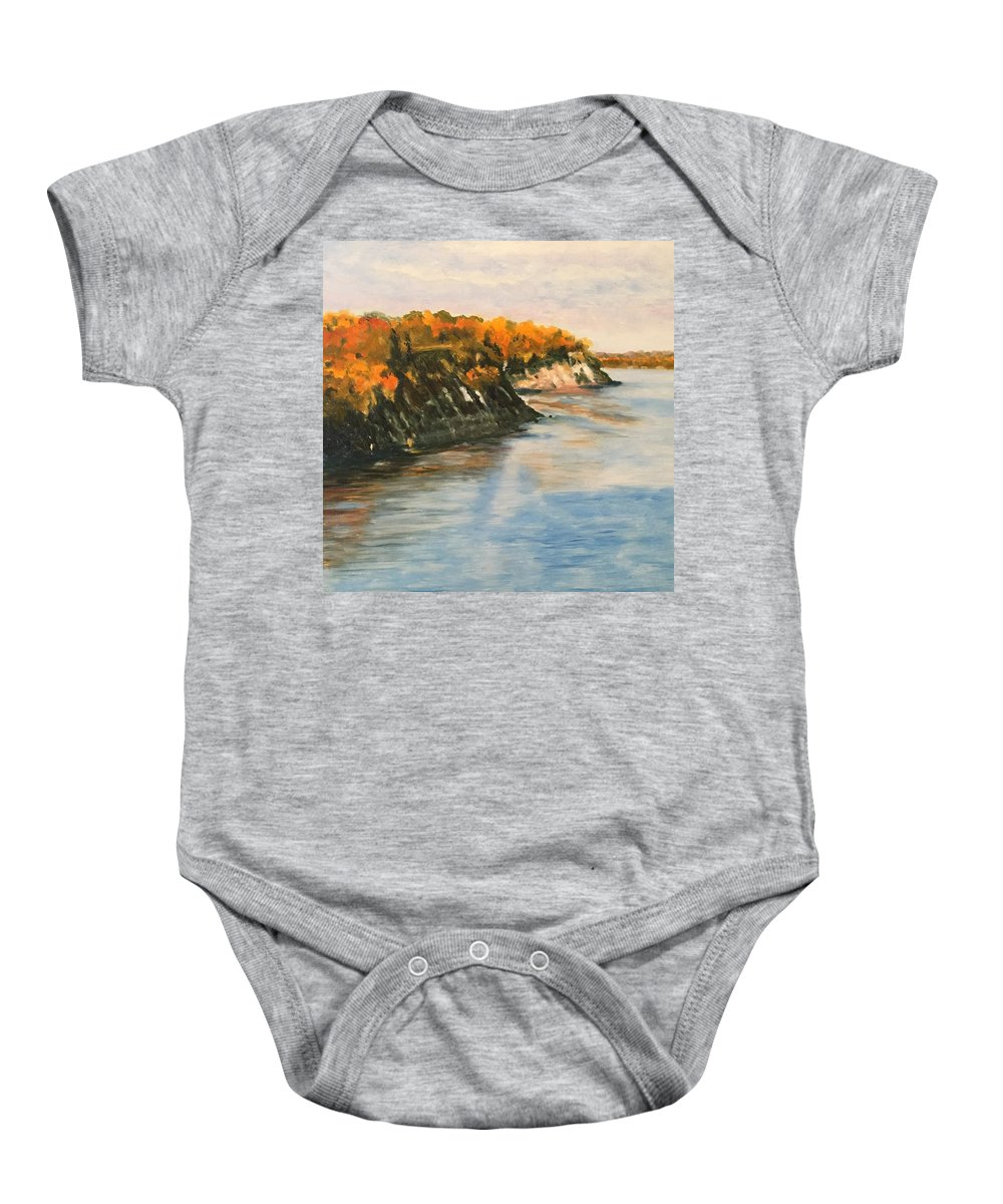 Landscape Baby Onesie featuring the painting Along The Chesapeake Bay by Heike Gramckow