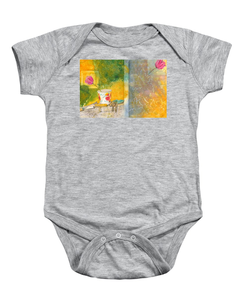Garden Baby Onesie featuring the painting Along The Garden Wall by Jean Blackmer