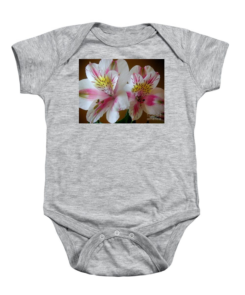 Nature Baby Onesie featuring the photograph Alstroemerias - Heralding by Lucyna A M Green