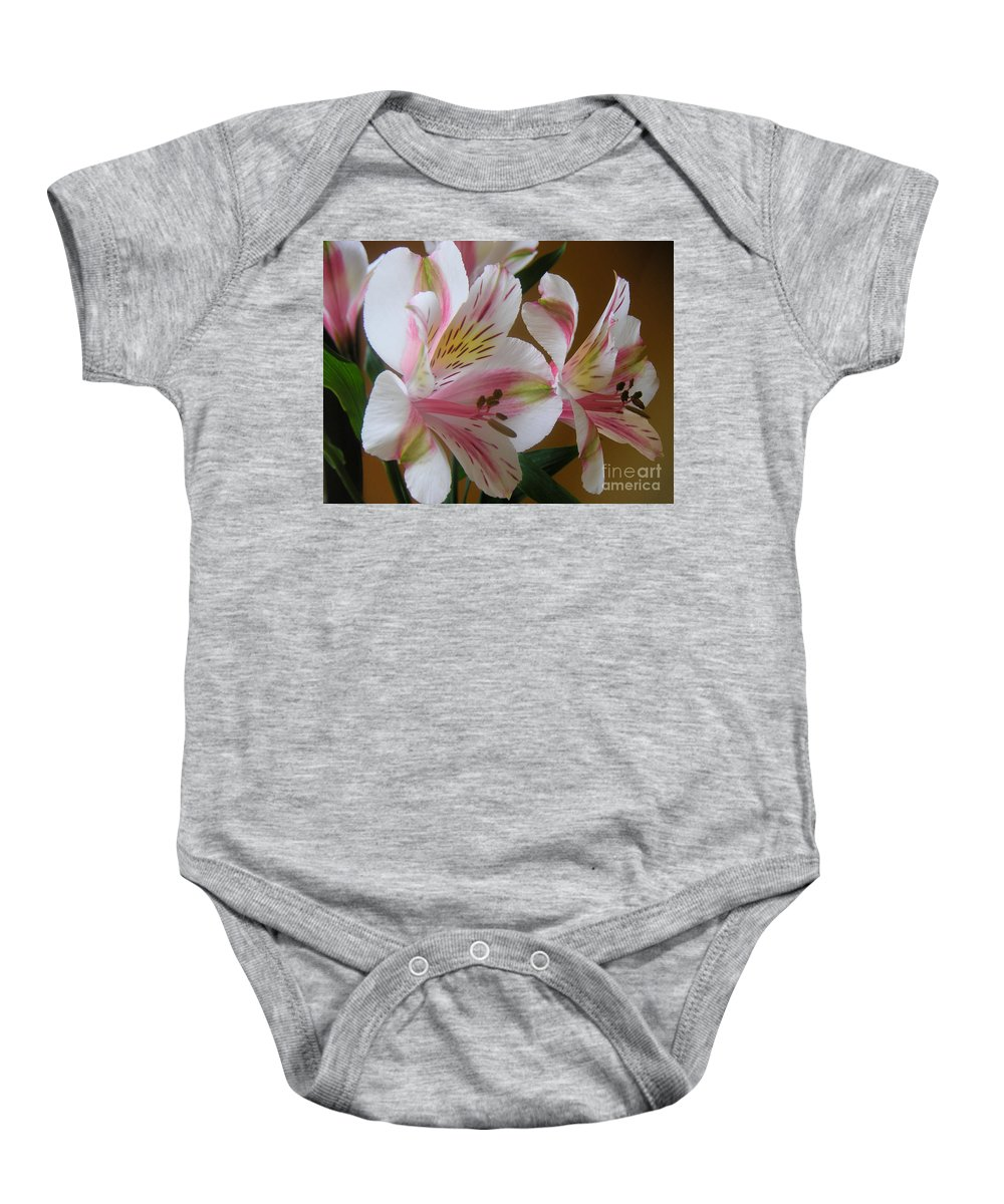 Nature Baby Onesie featuring the photograph Alstroemerias - Listening by Lucyna A M Green
