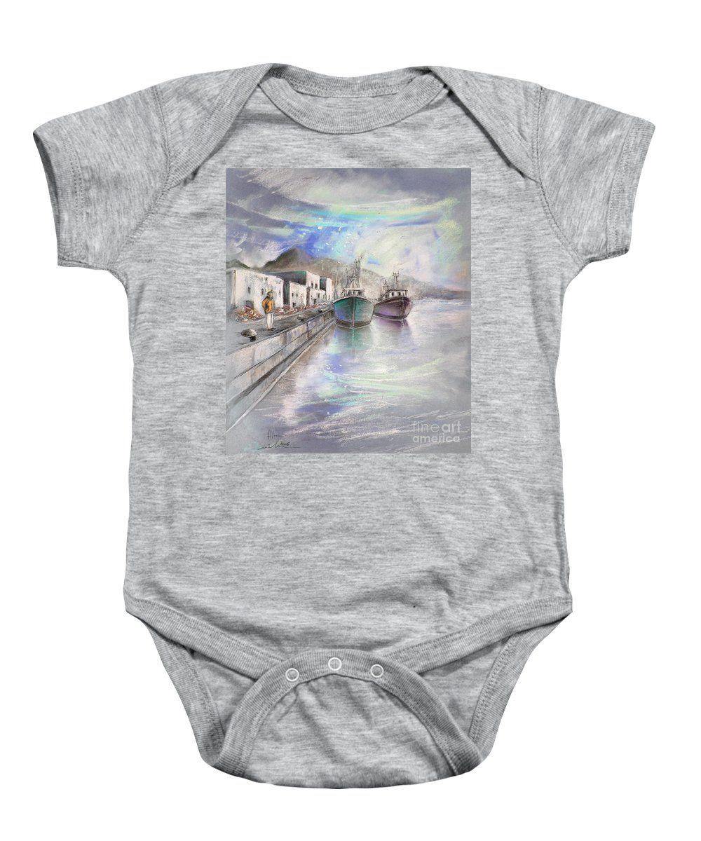 Altea Lanscape Baby Onesie featuring the painting Altea Harbour On The Costa Blanca 01 by Miki De Goodaboom