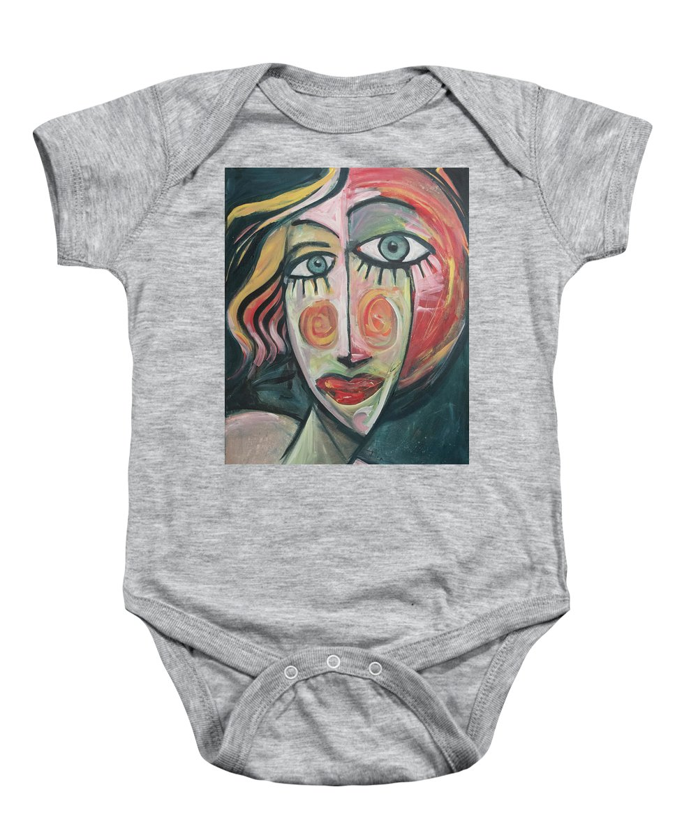 Woman Baby Onesie featuring the painting Amber by Tim Nyberg