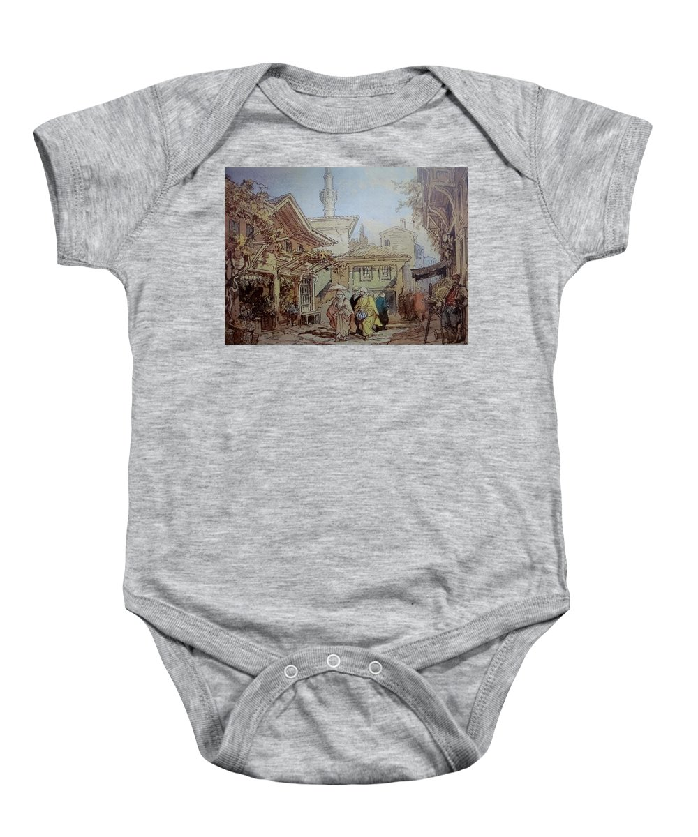 Amedeo-preziosi-a-street-scene-1 Baby Onesie featuring the painting Amedeo Preziosi A Street Scene by Eastern Accents