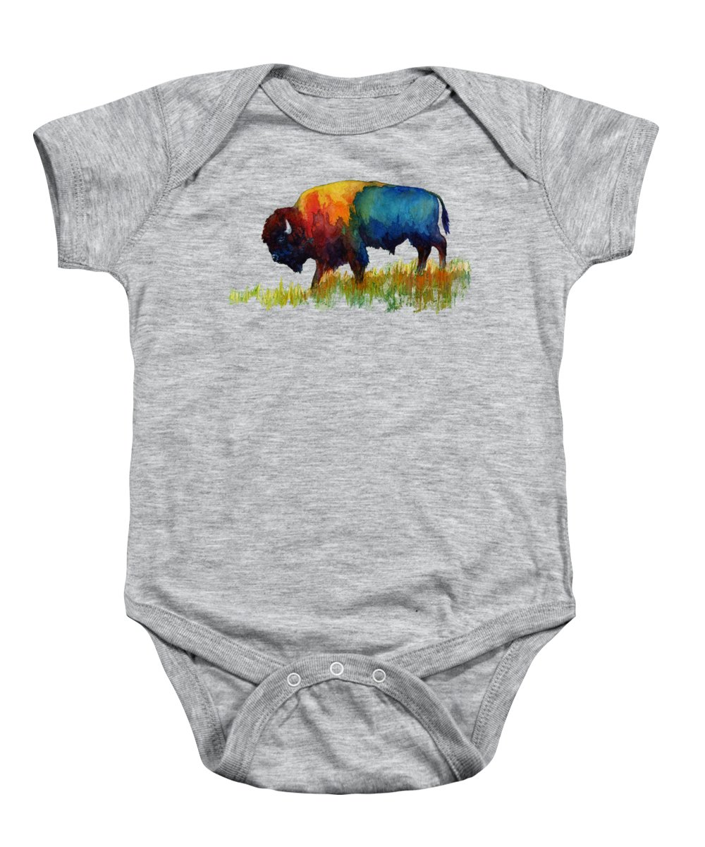 Bison Baby Onesie featuring the painting American Buffalo III by Hailey E Herrera